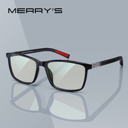 MERRYS DESIGN Men Anti Blue Ray Light Blocking Glasses For Computer Men Square Eyewear Silicone Temple S2518FLG
