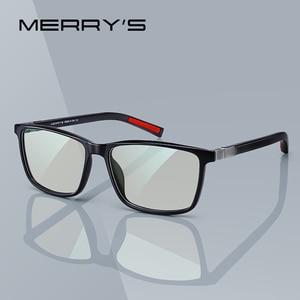 MERRYS DESIGN Men Anti Blue Ray Light Blocking Glasses For Computer Men Square Eyewear Silicone Temple S2518FLG