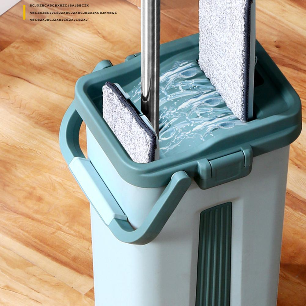 Flat Squeeze Magic Automatic Mop And Bucket Hand-Free Wringing Microfiber Cleaning Cloth Kitchen Wooden Floor Lazy Fellow Mop