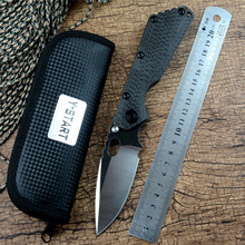 EDC Tactical Knife SMF D2 Blade Ball Bearing Folding Outdoor Camping Hunting Knives Carbon fiber Flame Titanium Handle with clip