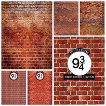 Laeacco parede de tijolos 9 3/4 reis fotografia fundos photophone cruz estação mágica foto backdrops para photo studio photocall