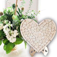 DIY Wooden Heart Shaped Wedding Birthday Guestbook Table Sign In Desktop Decoration Household Accessories