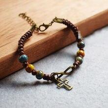 Христианский крест браслет ручной вязки керамический браслет леди Евангелион стажировки Рождественский Подарочный шнурок ювелирные изделия церкви