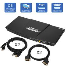 4K HDMI Dual Monitor KVM Switch 4 Port เข้า (2 HDMI + 2VGA) 2 พอร์ต (HDMI) KVM Switch HDMI สนับสนุน USB 2.0 4K @ 30Hz 4 สาย