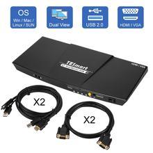 Monitor Dual 4K HDMI, interruptor KVM, 4 puertos de entrada (2 HDMI + 2VGA), 2 puertos de salida (HDMI), conmutador KVM, HDMI, compatible con USB 2,0, 4K @ 30Hz, 4 Cables