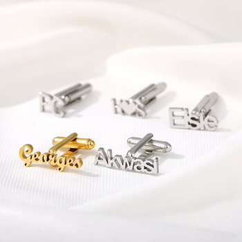 Custom Name Cufflinks for Men Stainless Steel Name Letter Cufflink Jewelry Shirt Wedding Fashion Charm Cuff Link Gift classic crystal spider cufflinks for men high quality male french shirt cuff links for men s jewelry birthday wedding gift