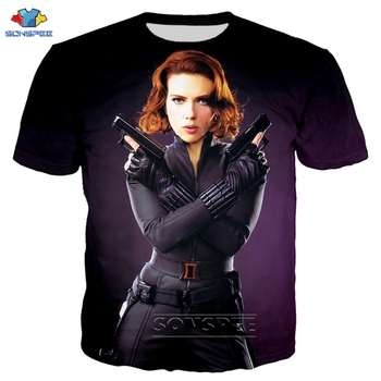 SONSPEE 2020 New Arrival 3D Print Avengers Endgame T-Shirts Black Widow T Shirt Unisex Harajuku Style Streetwear Summer Men Top