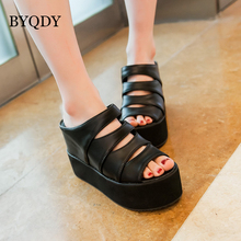 BYQDY Rome Style Open Toe Platform Sandals Wedges Shoes Woman Super High Heels Hollow Out  Slip-on Black Leather USA Footwear mature temptation mysterious sexy fashion ultra high documentary shoes black roman style hollow out super high heels