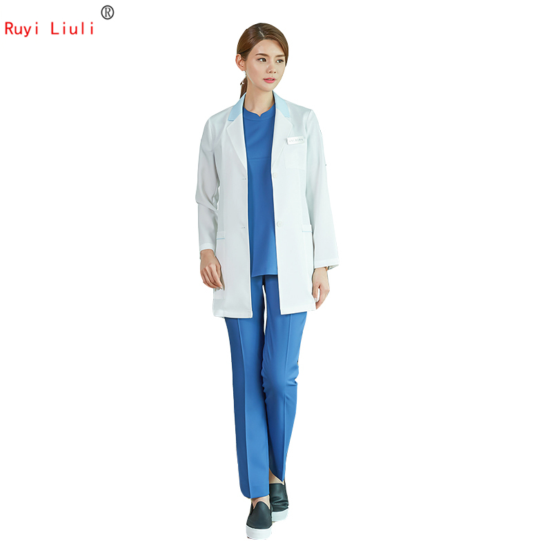 Top grade medical aesthetic plastic surgeon white coat coat female pet hospital oral outpatient pharmacy laboratory uniform image