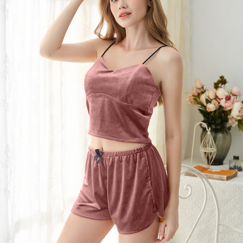 Women's Sleepwear Sexy Gold velvet Pajama Set Pink V-Neck Pajamas Sleeveless Cute Cami Top and Shorts