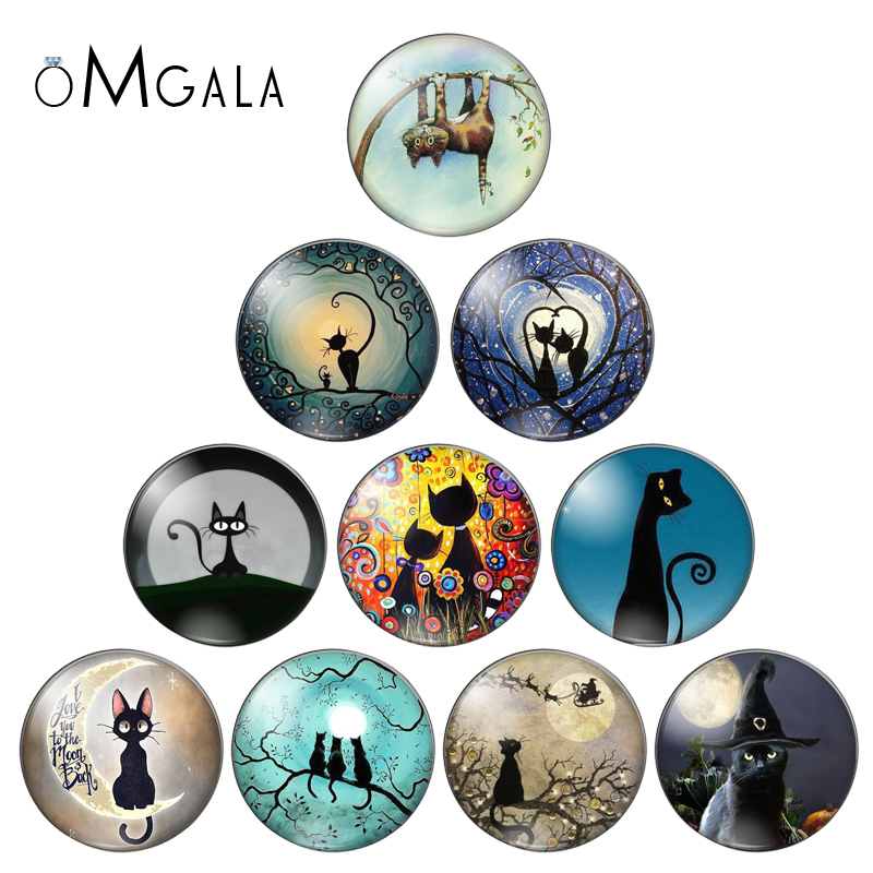 Fashion Lovely Cartoon Cats Beauty 10pcs 8mm/10mm/12mm/18mm/20mm/25mm Round Photo Glass Cabochon Demo Flat Back Making Findings
