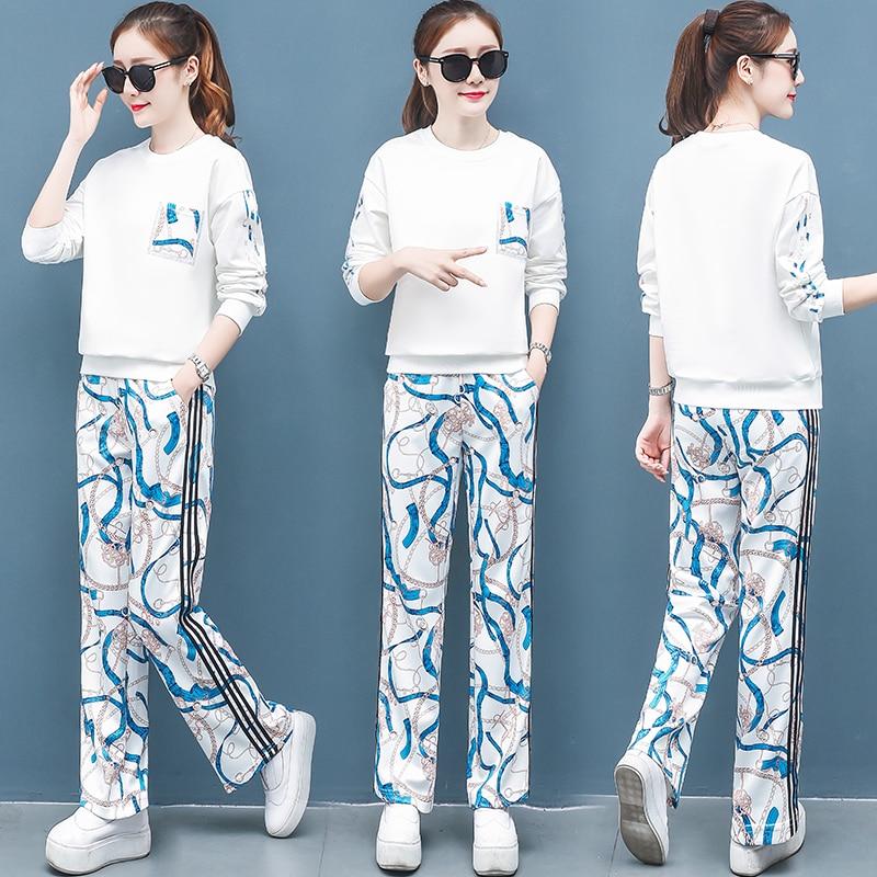 2019 Autumn Printed Sport Korean Two Piece Sets Outfits Women Plus Size Sweatshirt And Pants Suits Casual Fashion 2 Piece Sets 50