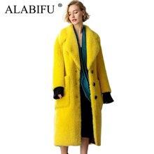 Long Faux Lamb Fur Jacket