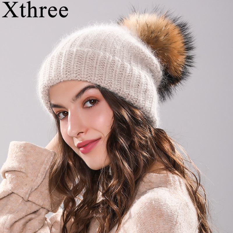 Xthree 70% Angola Rabbit fur knitted hat with real fur pom pom hat Skullie beanie winter hat for women girl 's hat female cap(China)