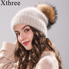 Xthree 70% Angola Rabbit fur knitted hat with real fur pom pom hat Skullie