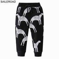 SAILEROAD Animal Print Calças de Bebê para Menino Algodão Harem Respirável Casual Calças Compridas Zebra Padrão Crianças Calças Primavera 2020