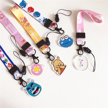 Mobile phone lanyard cute cartoon pendant mobile short key certificate gym with USB ID clip