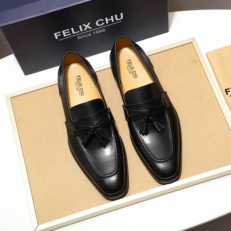 FELIX CHU Mens Tassel Loafers Italian Dress Casual Loafer for Men Slip-on Wedding Party Shoes Men's Leather Shoes Black Brown