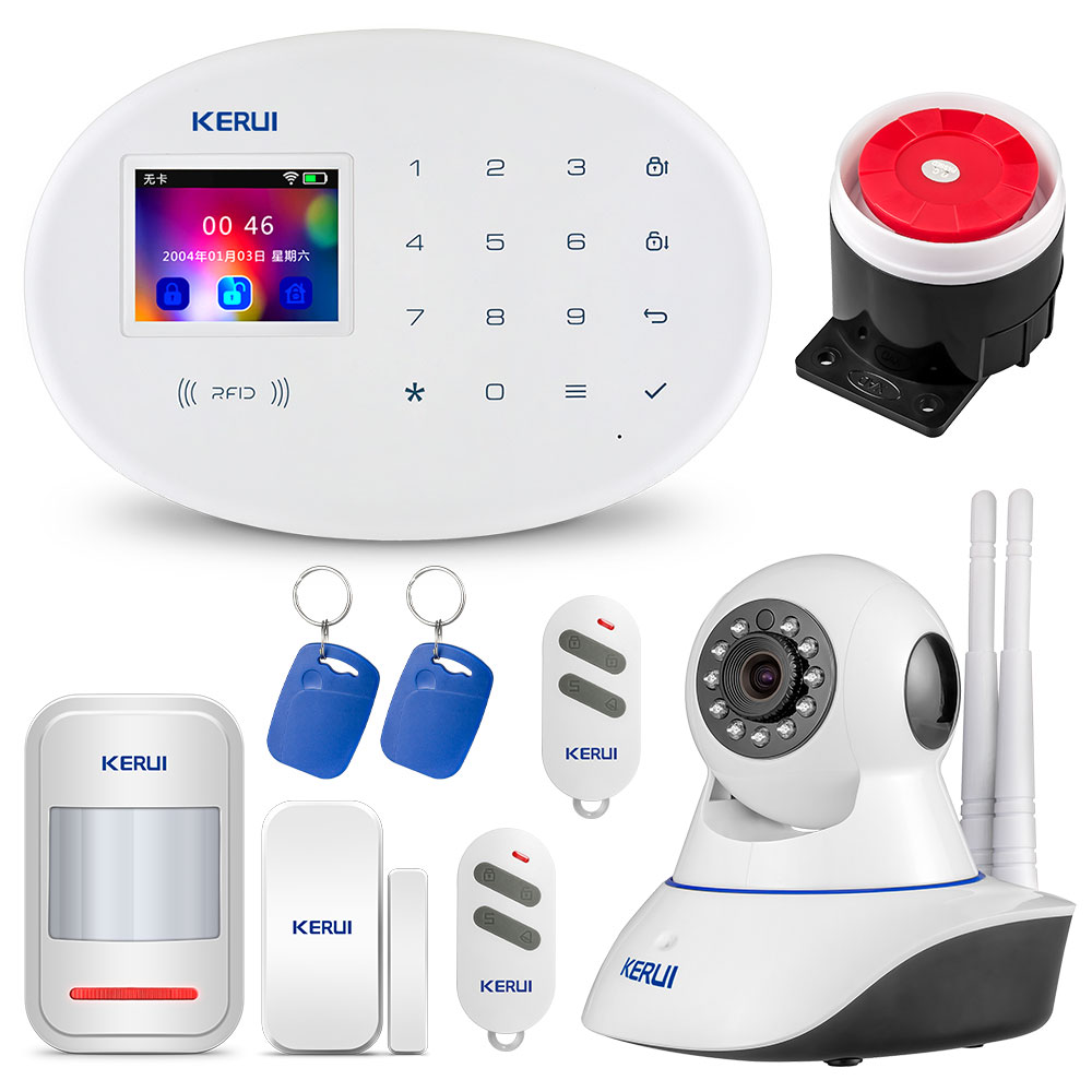 KERUI W20 Wireless Home Alarm Security IP Camera WIFI + GSM Security Alarm System Sensor Alarm Infrared Detector