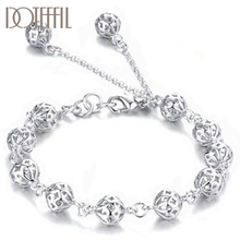DOTEFFIL 925 Sterling Silver 8mm Hollow Ball Bracelet For Women Wedding Engagement Party Fashion Jewelry