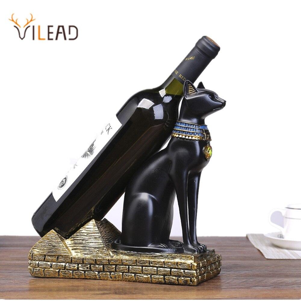 VILEAD 20cm Resin Egyptian Cat God Wine Bottle Holder Figurines ...