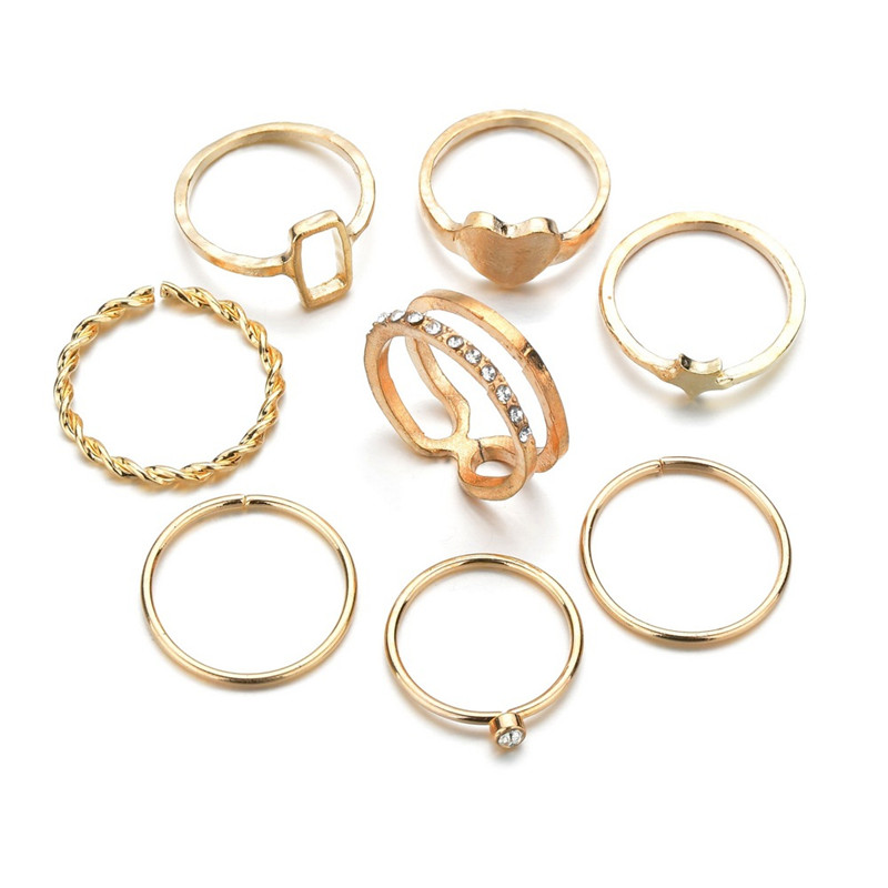 40 Styles Vintage Female Rings Gold Color Star Heart Ring Set Women Joint Ring Wedding Party Jewelry Accessories 1