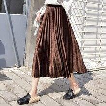 High Waist Pleated Skirts Women Long A Line Female Autumn Winter New Gold Velvet