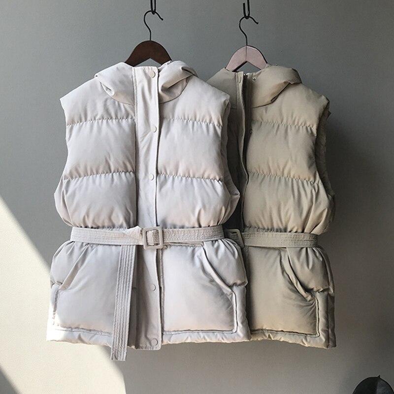 Winter Hooded Vest Coats Women Warm Slim Cotton Padded Jacket Vests Korean Fashion Zipper Jacket Woman Waistcoat With Belt