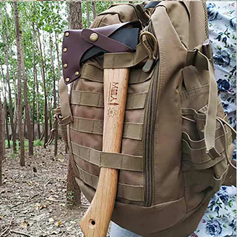 A Set Cowhide Handmade Outside Manul Survival Tomahawk Axes Multifunction Camping Hand Fire Axe Outdoor Ax With Sleeve