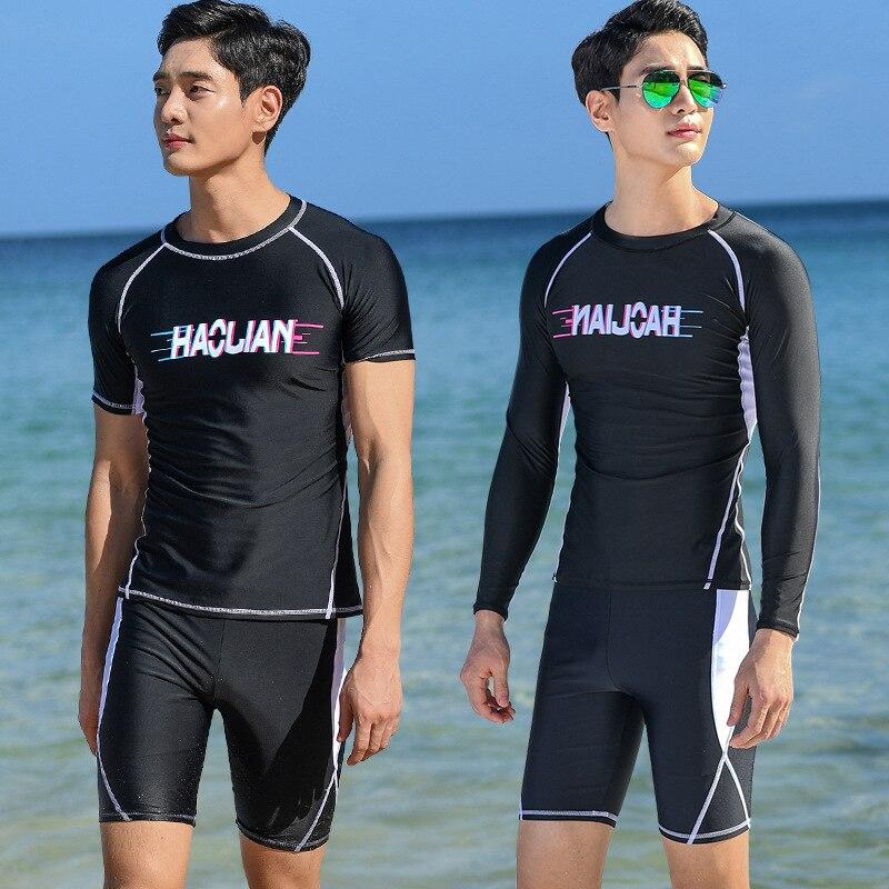 2019 MEN'S Swimsuit South Korea Fashion Long Sleeve Sun-resistant Short Swimming Trunks Set Short Sleeve Quick-Dry