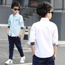 Новинка весны года Стиль детская одежда из вельвета, для мальчика, для больших мальчиков в Корейском стиле-Стиль Повседневное натуральный хлопок карман рубашка с ткацкой лентой