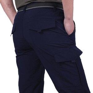 Image 4 - Дышащие легкие водонепроницаемые быстросохнущие повседневные брюки, мужские летние армейские брюки в Военном Стиле, мужские тактические брюки карго