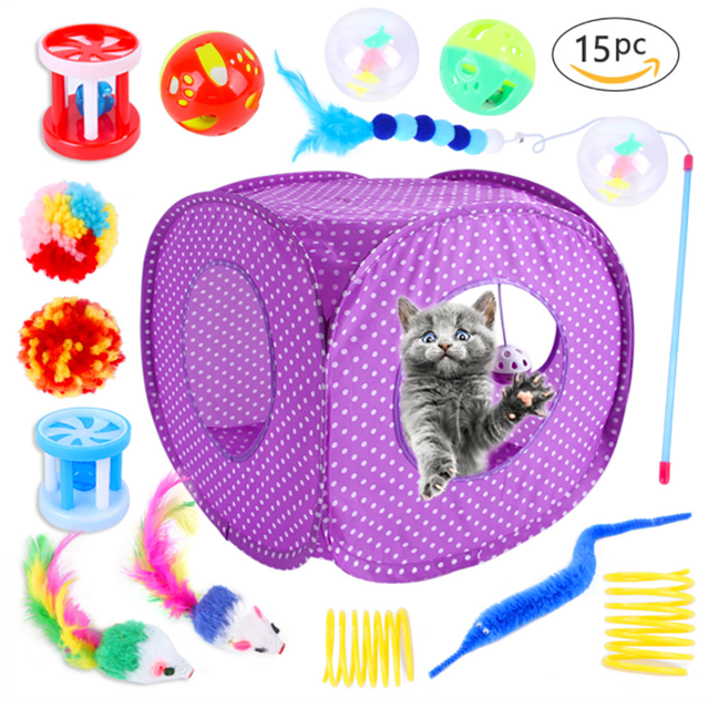15PCS Indoor Interactive Fluffy Hut Mouse Spring Toy for Kittens 1