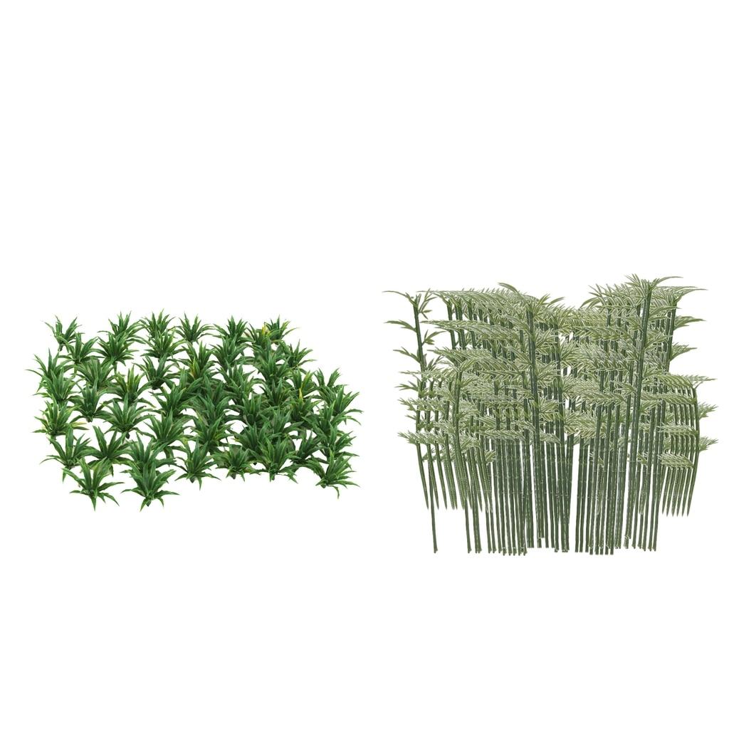 100 Pcs Plastic Model Bamboo Trees Green Train Park Layout Scenery Scale 1:200