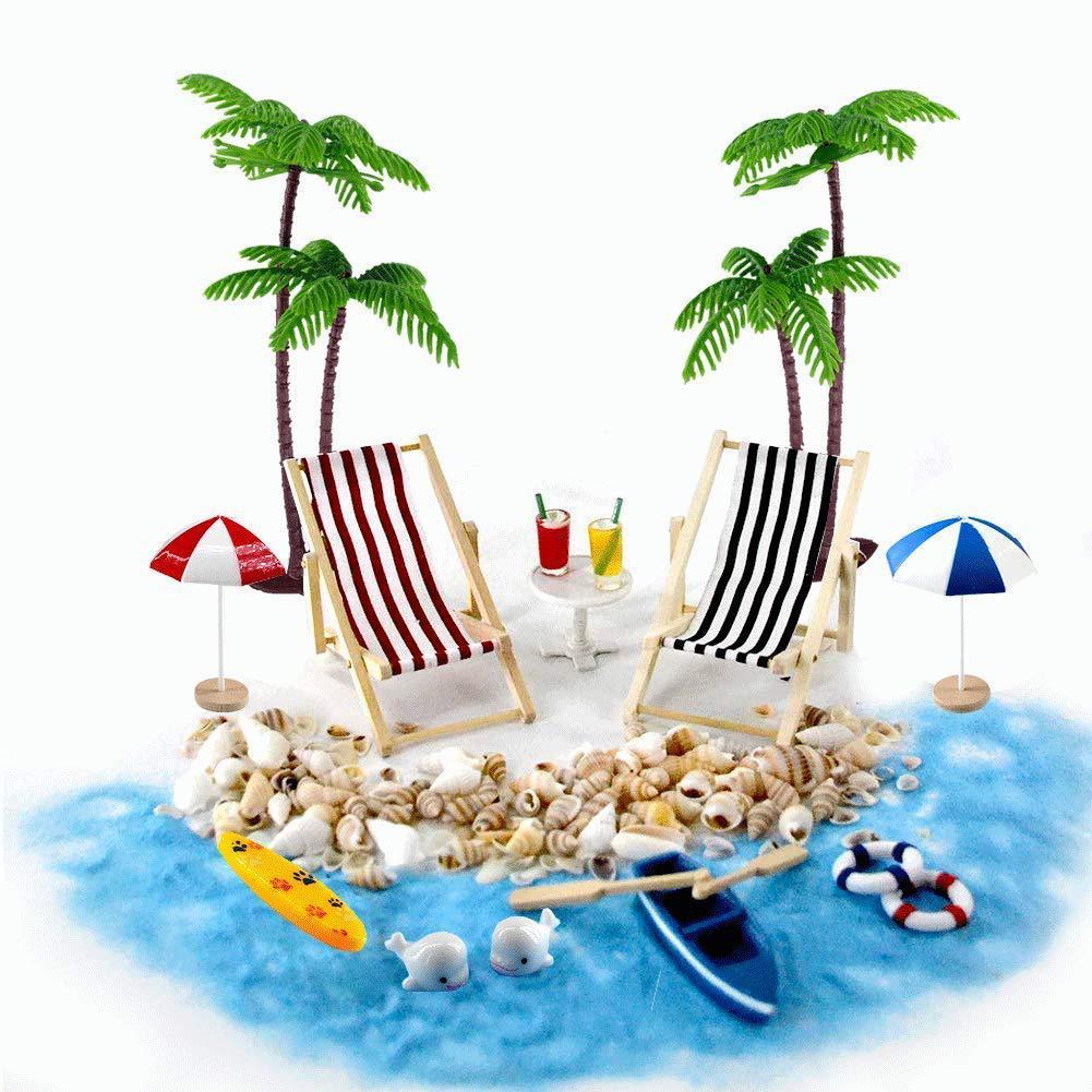 18 Pcs Set Beach Micro Landscape Mini Chair Beach Set Miniature Ornaments Set For House Decoration Beach Micro Kits Set