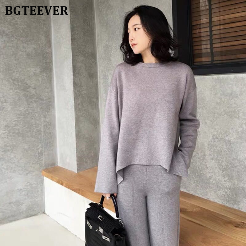 Elegant Knitted Set Women O-neck Jumpers & Wide Leg Pant Autumn Winter Sweater Set Female Casual Knitted Tracksuit Women 2019