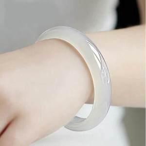 Натуральный агат халцедон 54-64 мм ледяной белый браслет элегантные ювелирные изделия принцессы лучший подарок