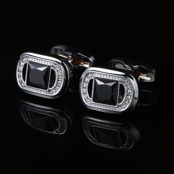High-grade Black Crystal French Cufflinks  2