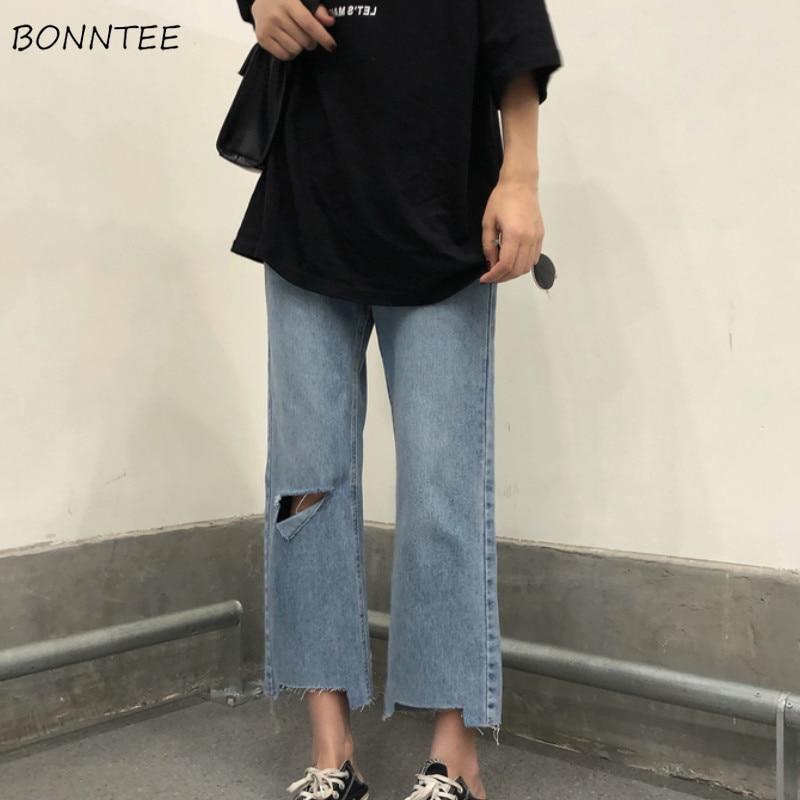 Jeans Women Hole Pockets Zipper Irregular Ankle-Length Loose Straight Denim High Waist Korean Style Chic Womens Streetwear Daily