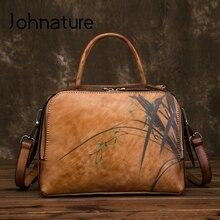 Johnature 2020 novo couro genuíno retro floral bolsas femininas saco de lazer artesanal zíper ombro & crossbody sacos