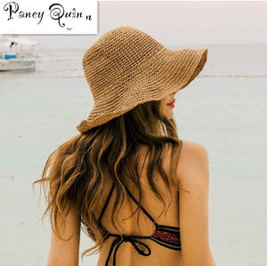 Summer Hats Visors-Hat Outdoor-Caps Panama Sun-Beach WOMEN Raffia-Cap Brim Folded Wide-Wave