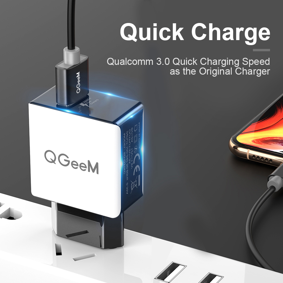 QGEEM QC 3,0 USB зарядное устройство волоконное устройство для быстрой зарядки 3,0 портативное зарядное устройство для iPhone Xiaomi Mi9 EU US