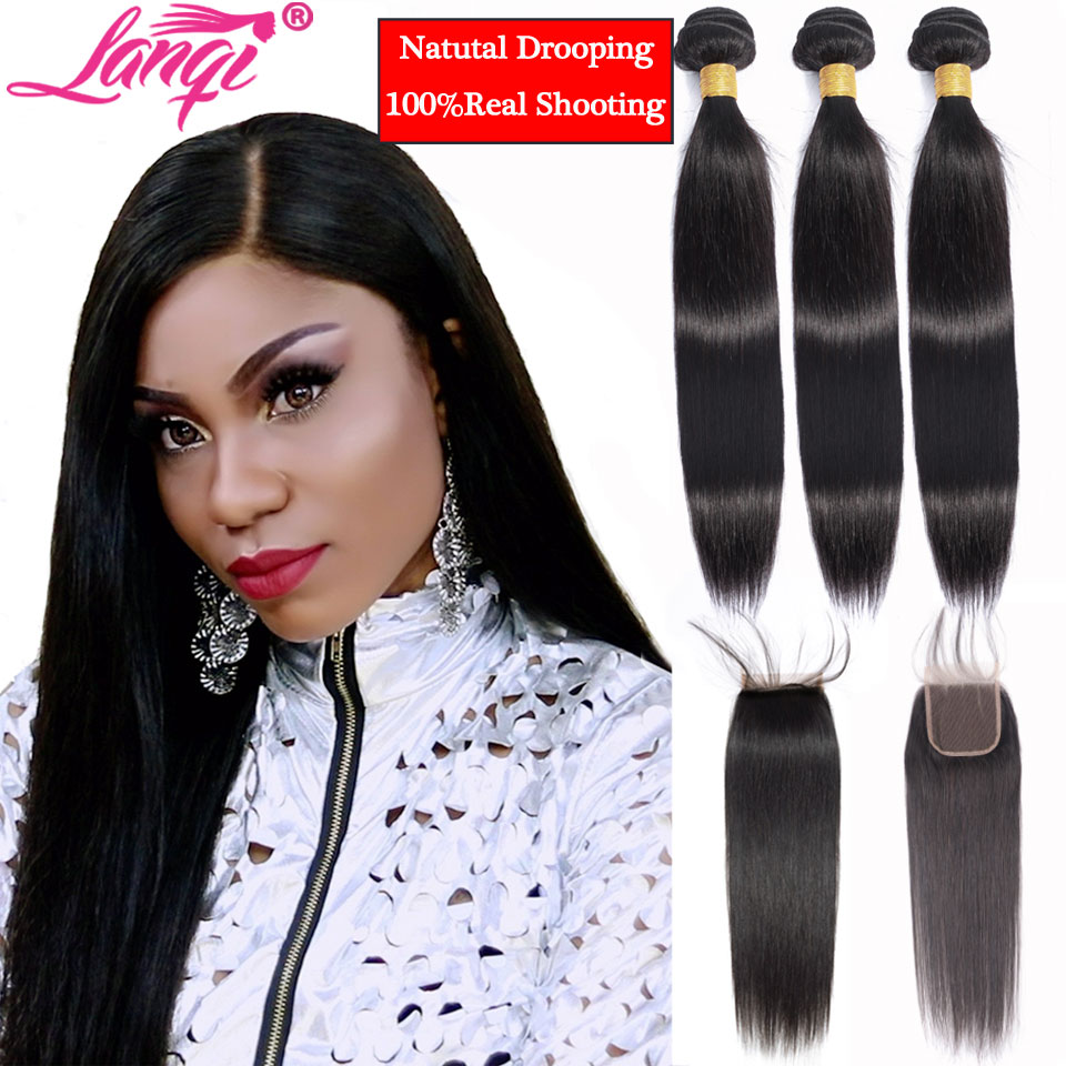Brazilian Straight Hair Bundles With Closure Non Remy Hair Bundles With Closure Peruvian Human Hair Weave Bundles With Closure