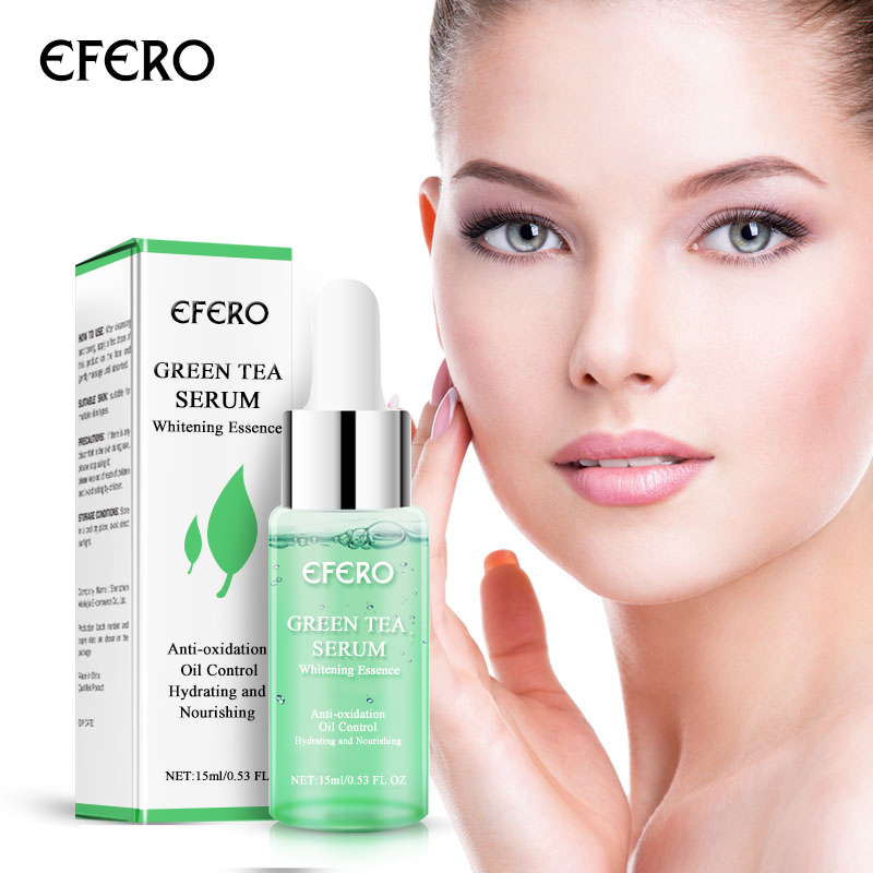 EFERO Green Tea Essence Oil Whitening Skin Face Serum Acne Treatment Shrink Pores Essential Oils Face Cream Moisturizer 15ml image