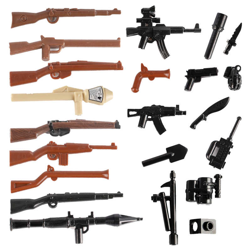 WW2 Military German Soldier Weapone Guns Building Blocks Rifle Firearms Army Accessories Bricks Police SWAT Figure MOC Toys C106