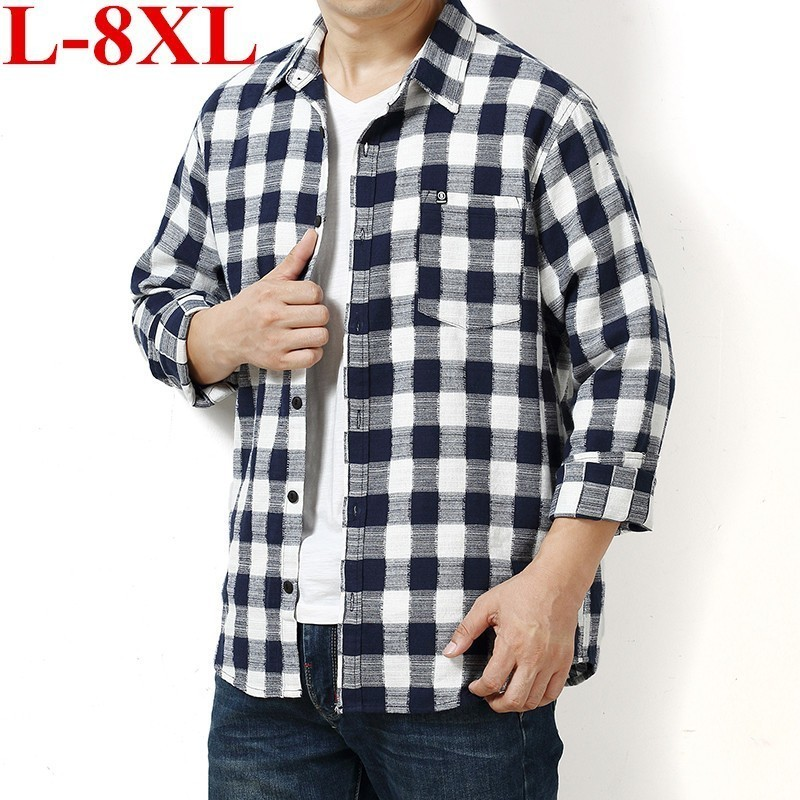 Plus Size  Men's Shirt  Spring Autumn New Male Long Sleeve Flannel Plaid Shirt Brand Men Office Style Business Casual Shirts