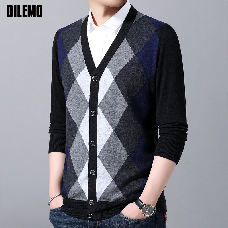 2019 New Fashion Brand 6% Wool Sweaters  Mens Cardigan Jumpers Knit V Neck Autumn Slim Fit Patterns Slim Fit Casual Men Clothes