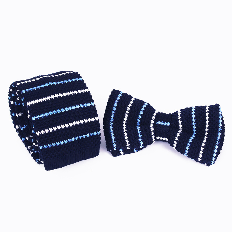 5.5cm Ties For Man Skinny Fashion Striped Knitted Tie Bowtie Set Flat Narrow Necktie  Gifts For Men Leisure Trend  Accesorios