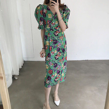 VICONE South Korea's new fashion show thin cotton and linen printed accept waist dress girls dress