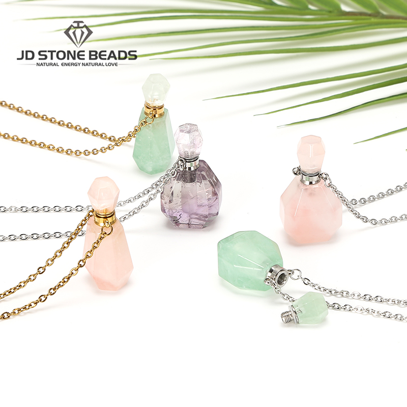 Natural Gemstone Perfume Bottle Necklace Women Essential Oil Diffuser Pendant Amethysts Fluorite Jewelry Charm For Diy Necklace